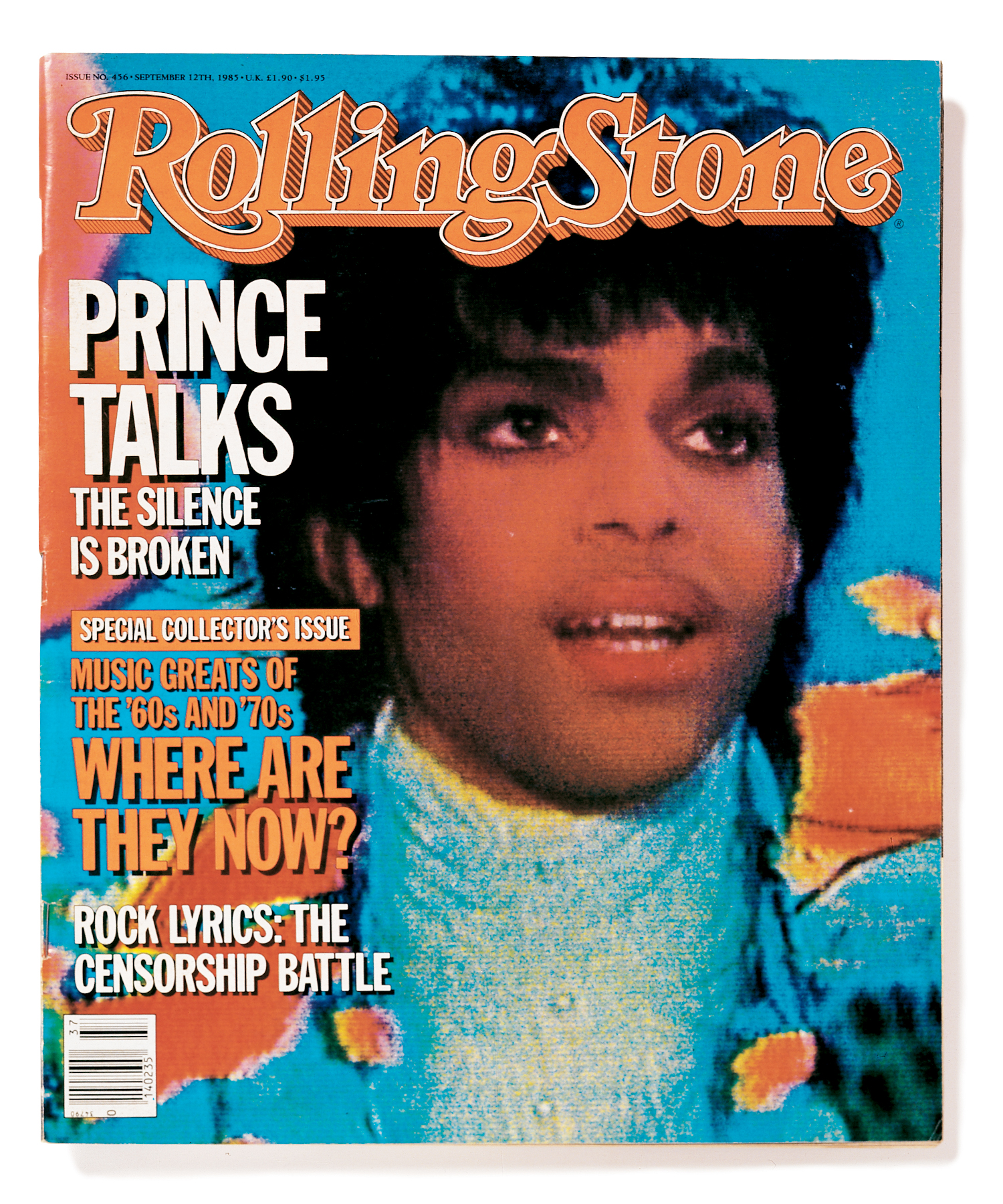 """RS456 Prince on the cover of the September 12th, 1985 issue of """"Rolling Stone."""""""