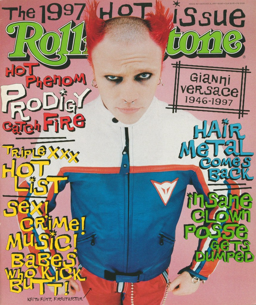 Prodigy's Keith Flint photographed by Peter Robathan/Katz/Outline on Rolling Stone Issue #767, August 21, 1997.