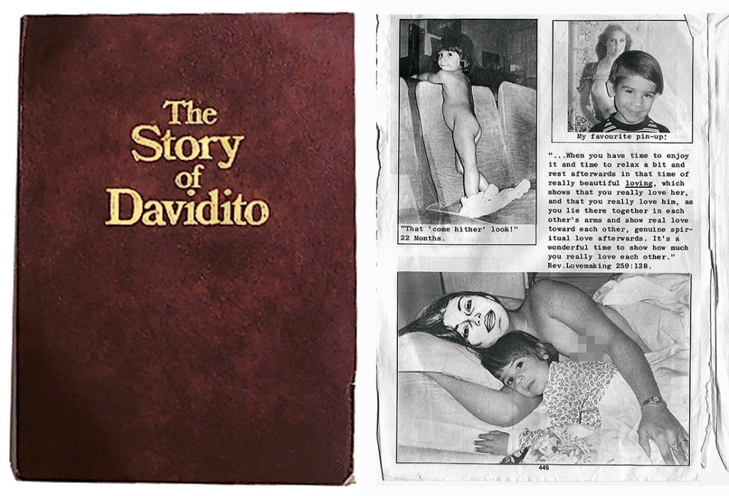The Story of Davidito chronicled the disturbing upbringing of the young Ricky Rodriguez. Realizing the explosive nature of the book, Berg had Family artists disguise the faces of key members with simple line drawings. Images courtesy of Don Irwin
