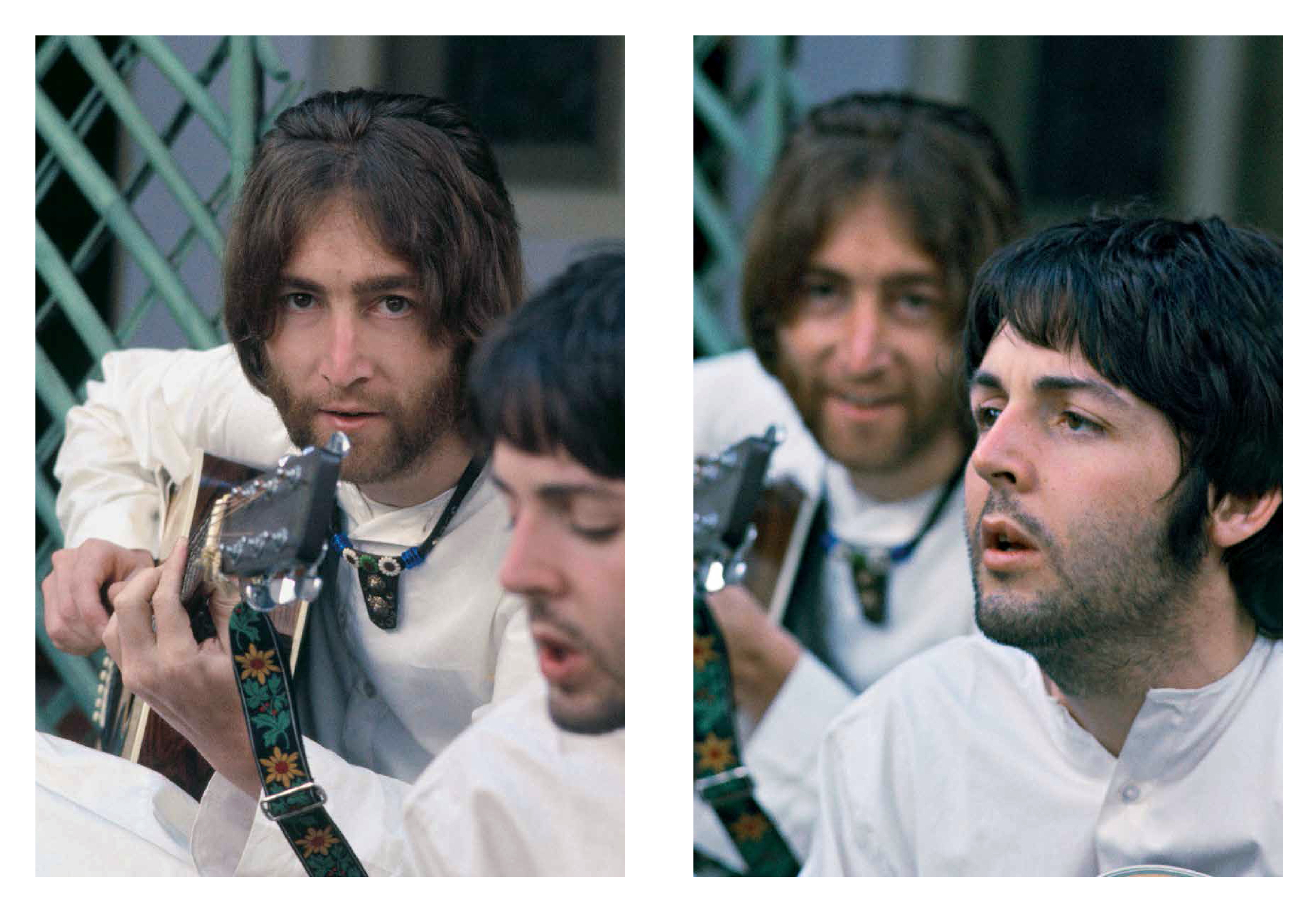 John Lennon and Paul McCartney in India.