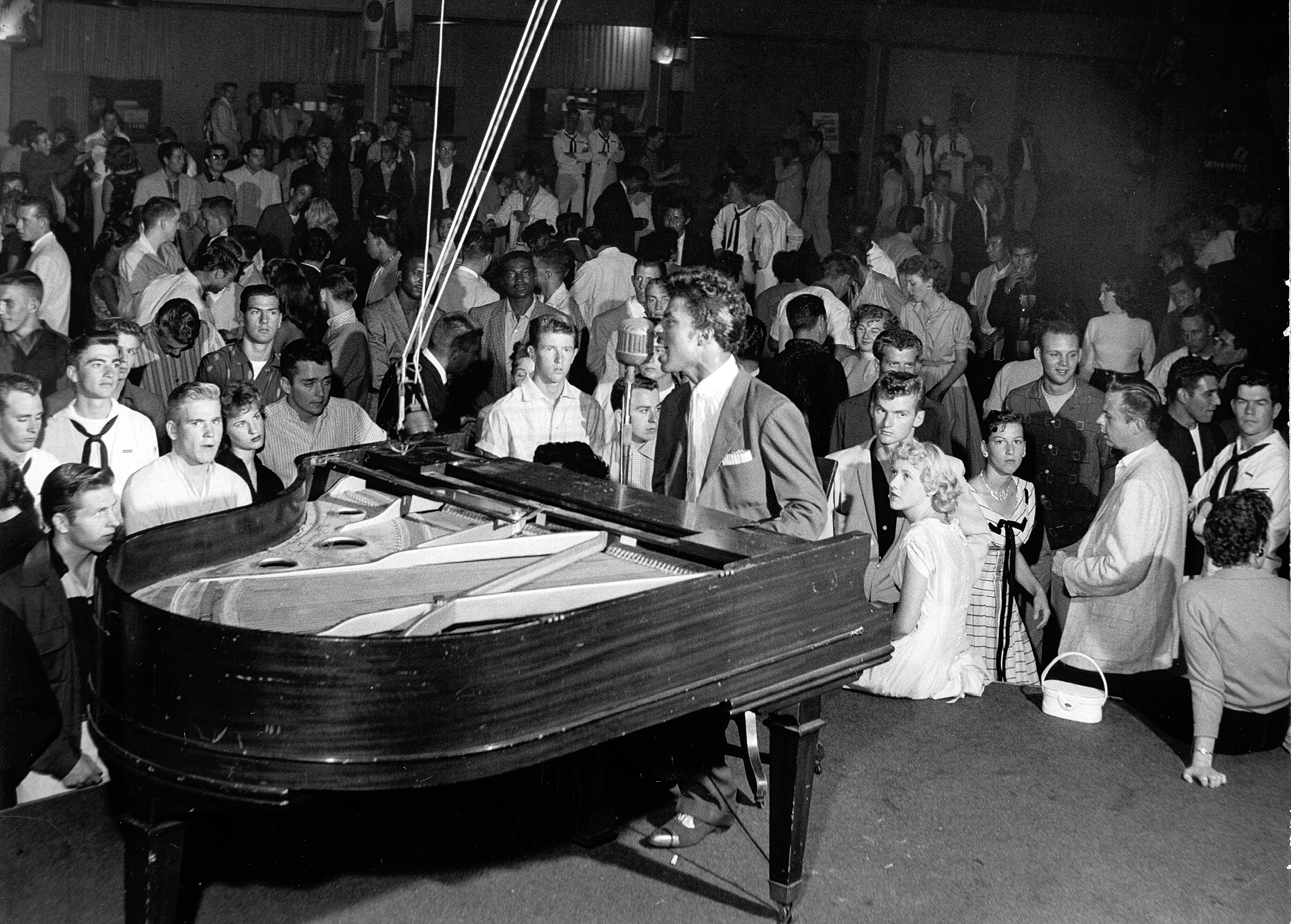 Little Richard performs onstage in circa 1955.