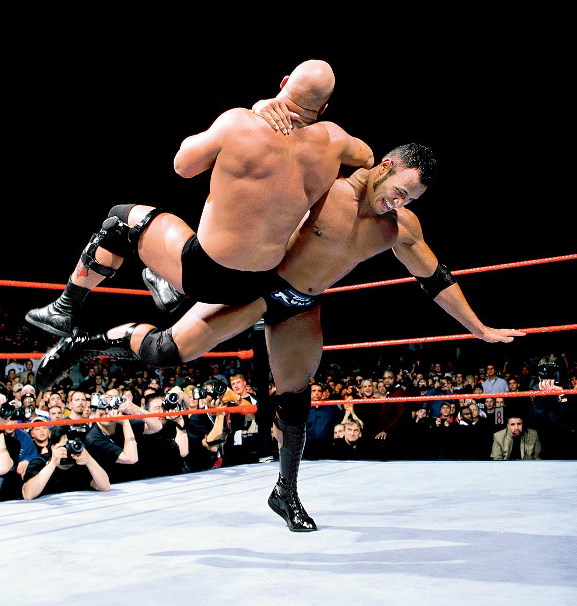 "Dwayne ""The Rock"" Johnson wrestling in 1999."