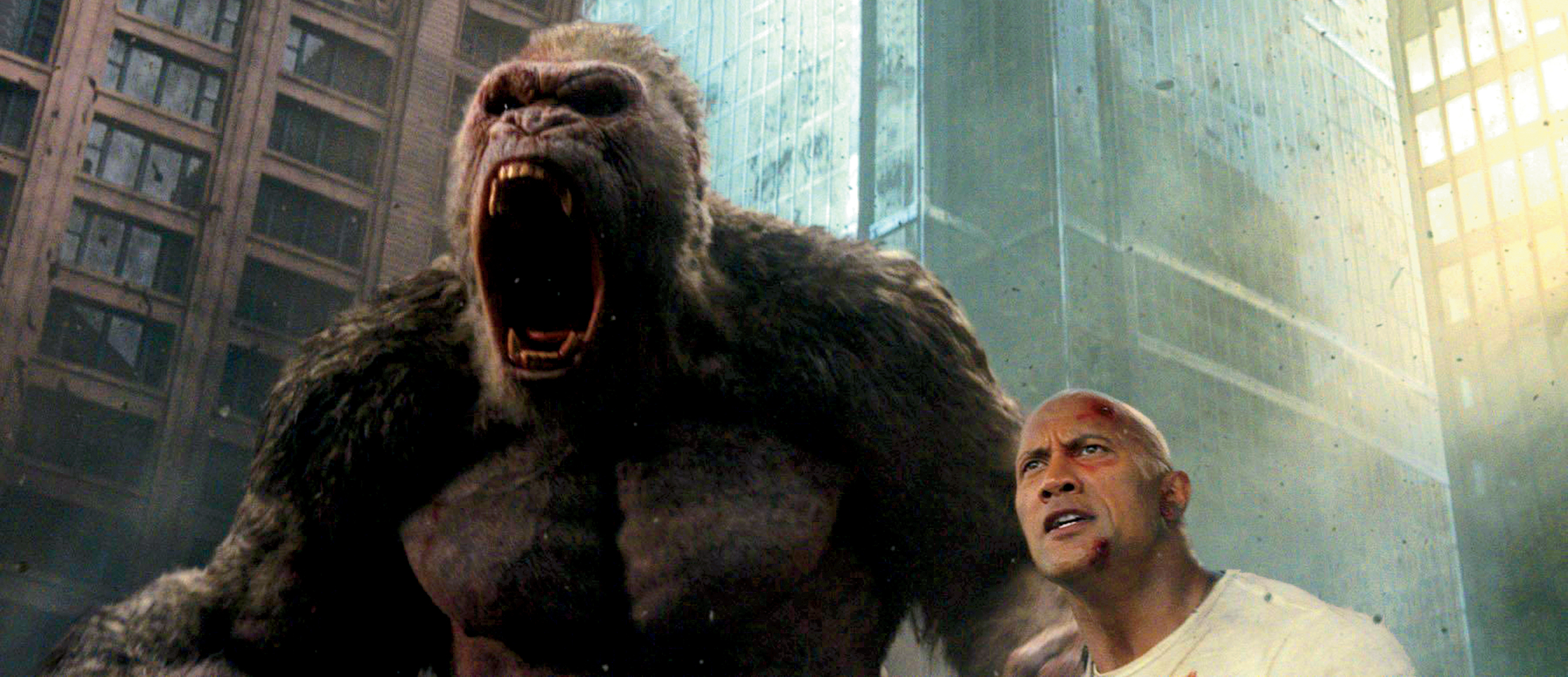 """Dwayne """"the Rock"""" Johnson saving the day in """"Rampage"""" movie."""