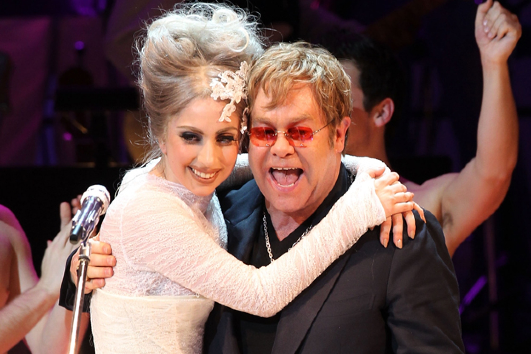 Lady Gaga and Elton John perform in New York City.