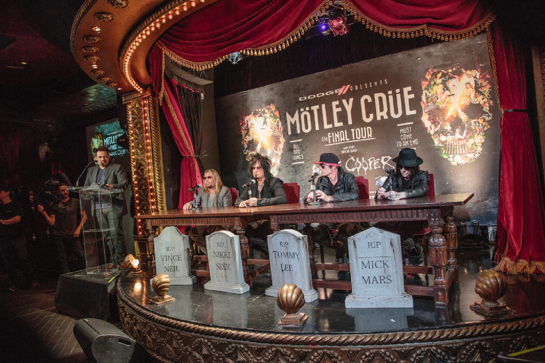 64234c14fa Mötley Crue during the press conference to announce their final tour at  Roosevelt Hotel in Hollywood.