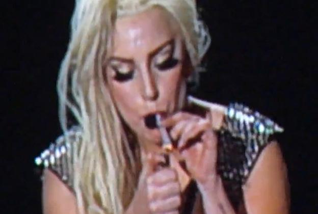 Lady Gaga Smokes Marijuana Onstage In Amsterdam Rolling