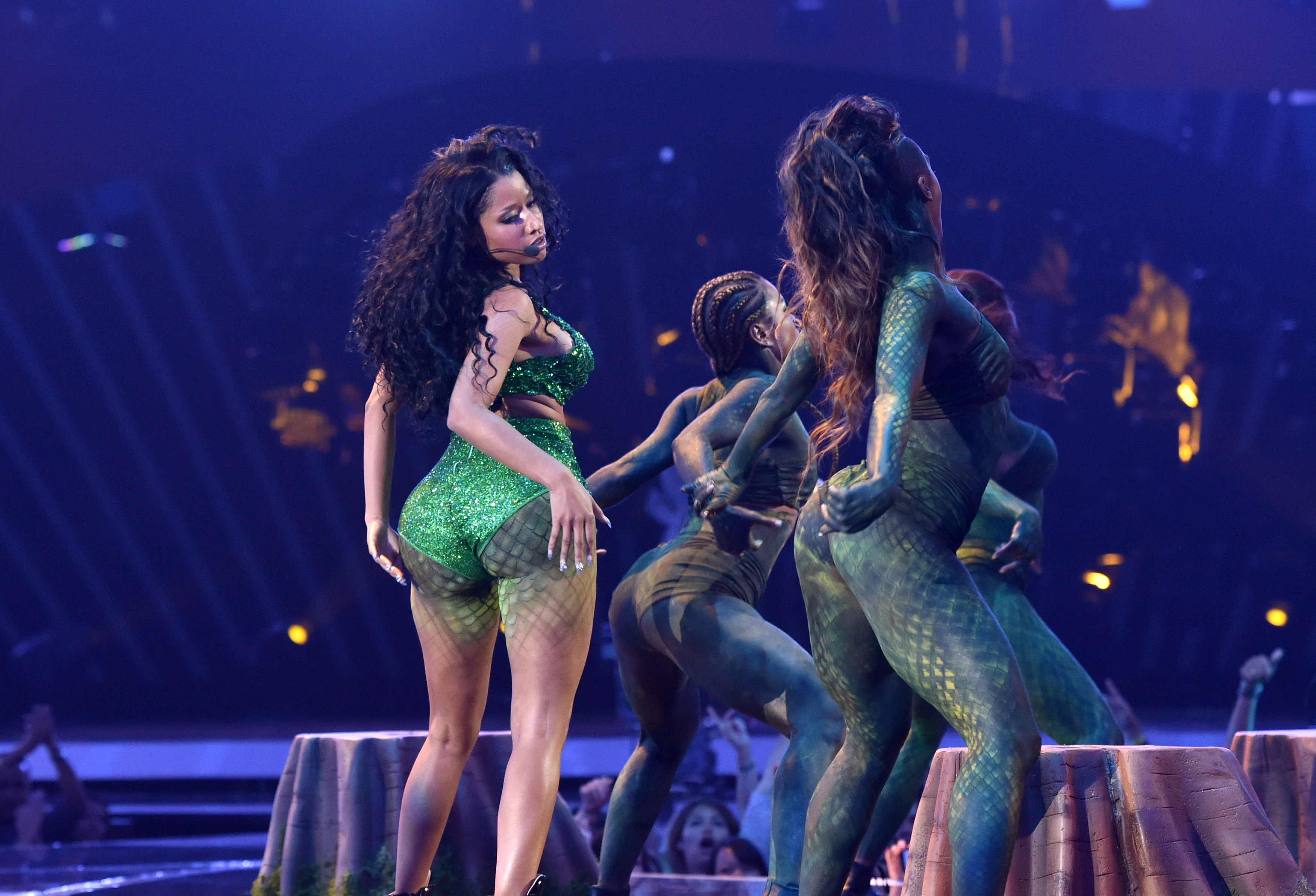 dce6645665a8 Nicki Minaj performs onstage during the 2014 MTV Video Music Awards at The  Forum on August 24