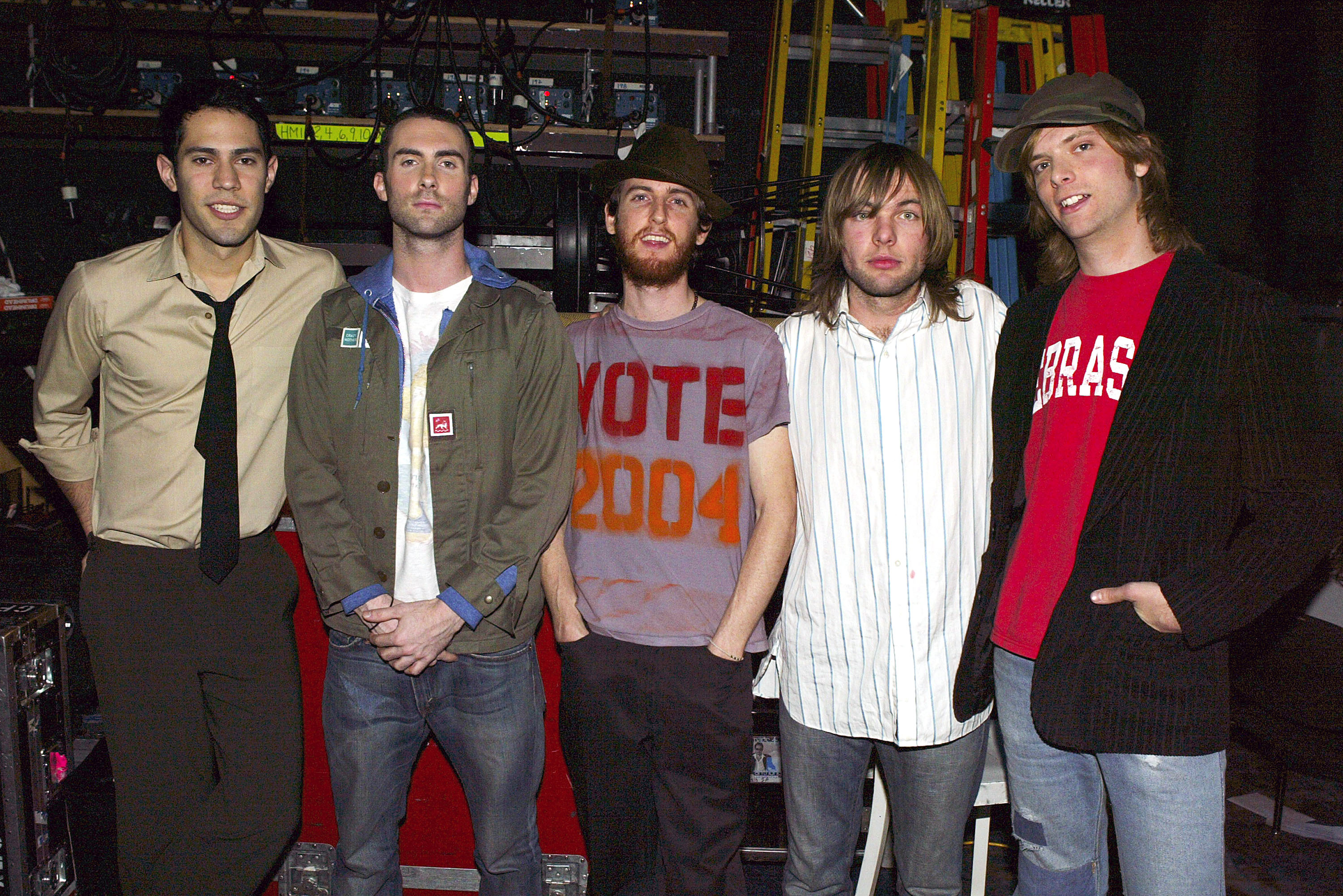 b1a9627593a989 Maroon 5 poses for a photo backstage during  TRL BreakOut Stars Week  on  MTV s Total Request Live at the MTV Times Square Studios in New York City