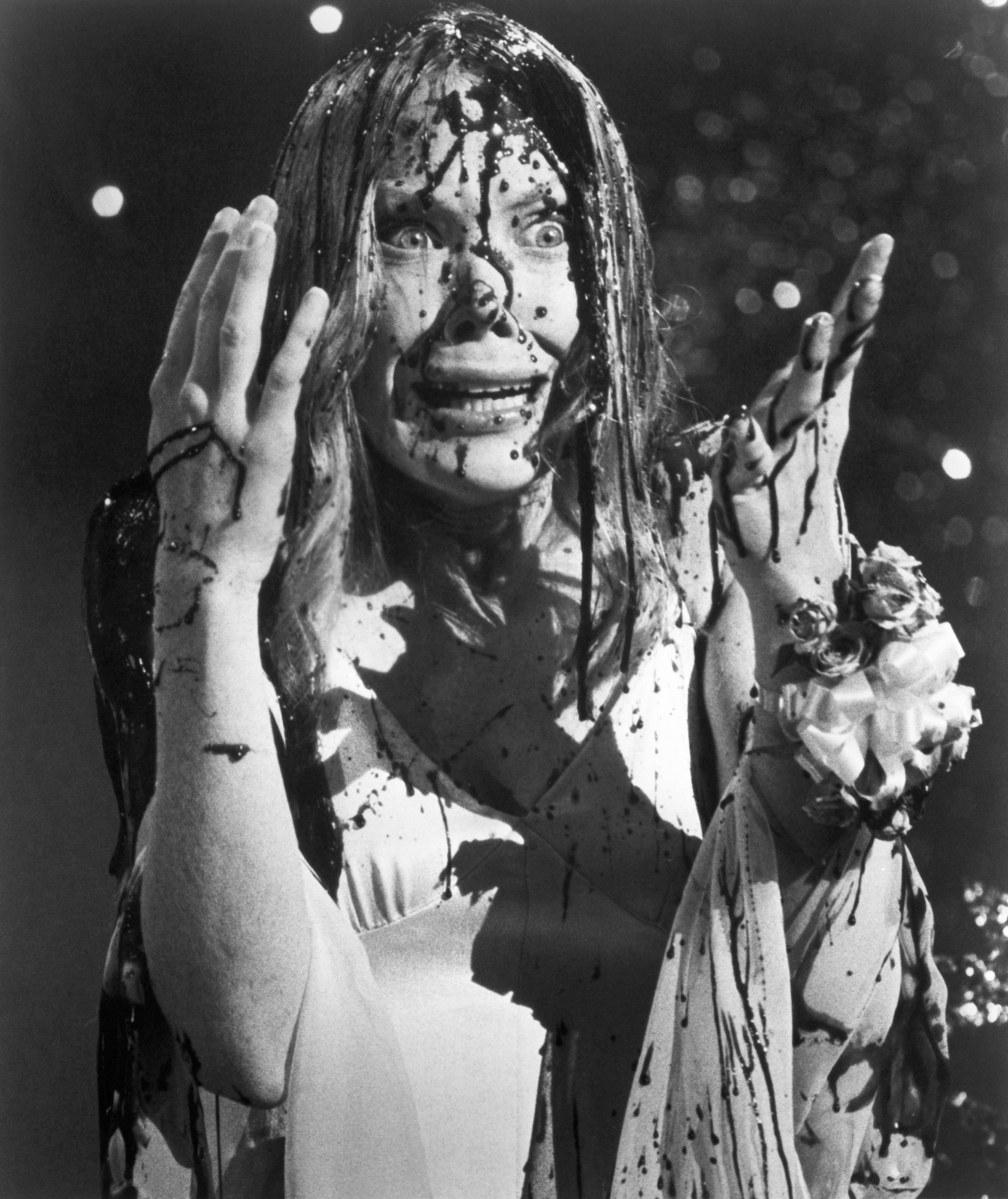 Sissy Spacek attends her high school prom in the Brian De Palma horror  classic 'Carrie' based on the Stephen King novel in 1976 in Los Angeles,  California.
