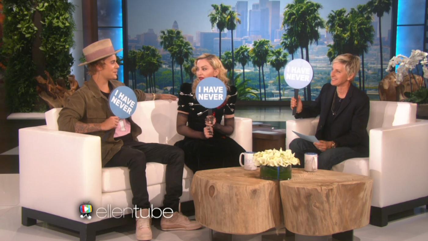 Madonna, Justin Bieber Play 'Never Have I Ever' on 'Ellen