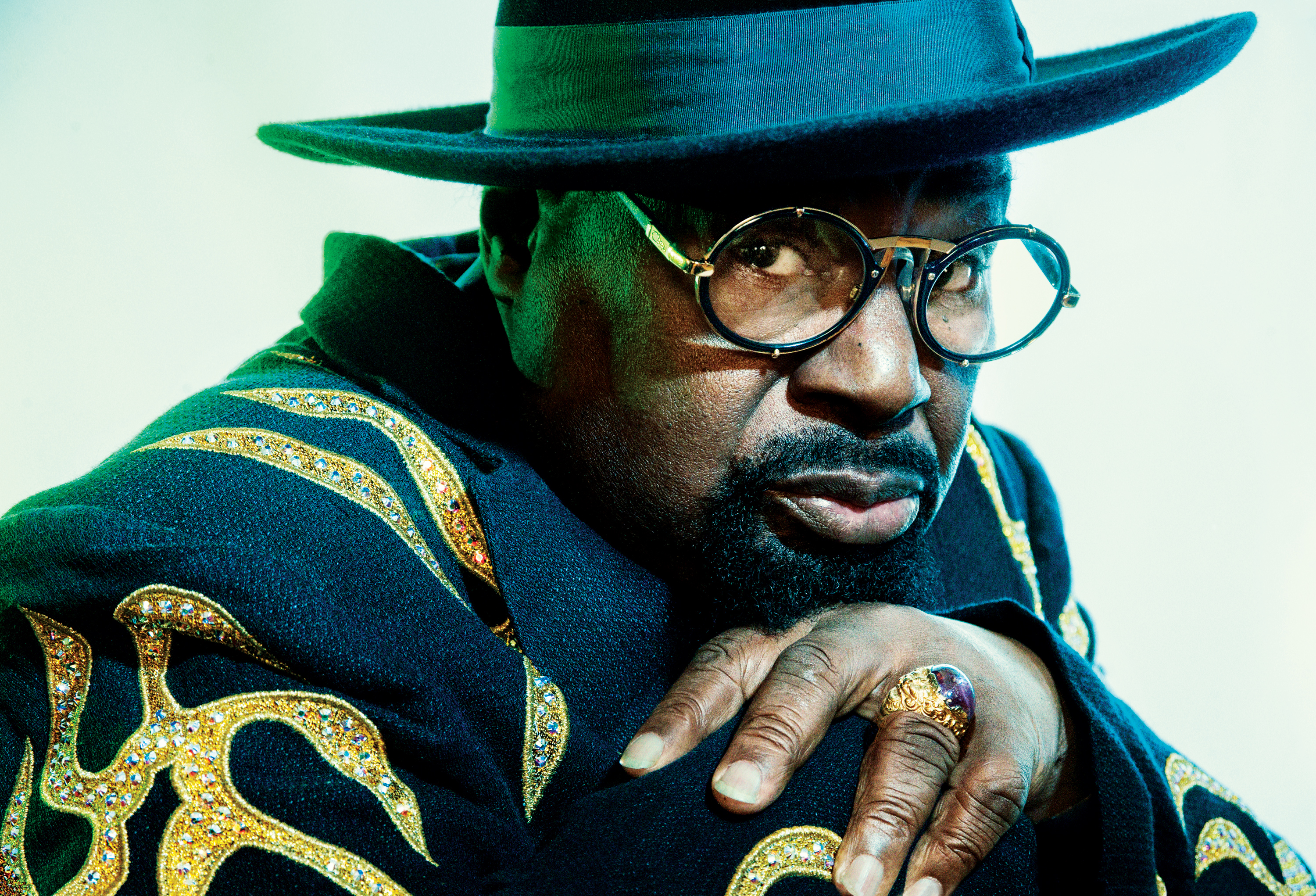George Clinton Doctor Atomic Rolling Stone Reves Studio Cut Out Pin Stripe Shirt Blue Whenever Hes Not On The Road Likes To Spend At Least A Portion Of Each Day His Tallahassee Florida Recording