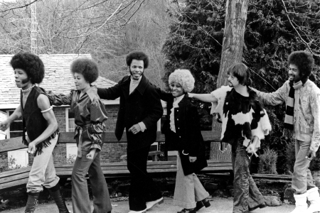 Psychedelic soul group, Sly & Family Stone, human dancing train, Sly Stone, Cynthia Robinson, Freddie Stone, Rosie Stone, Jerry Martini, Larry Graham