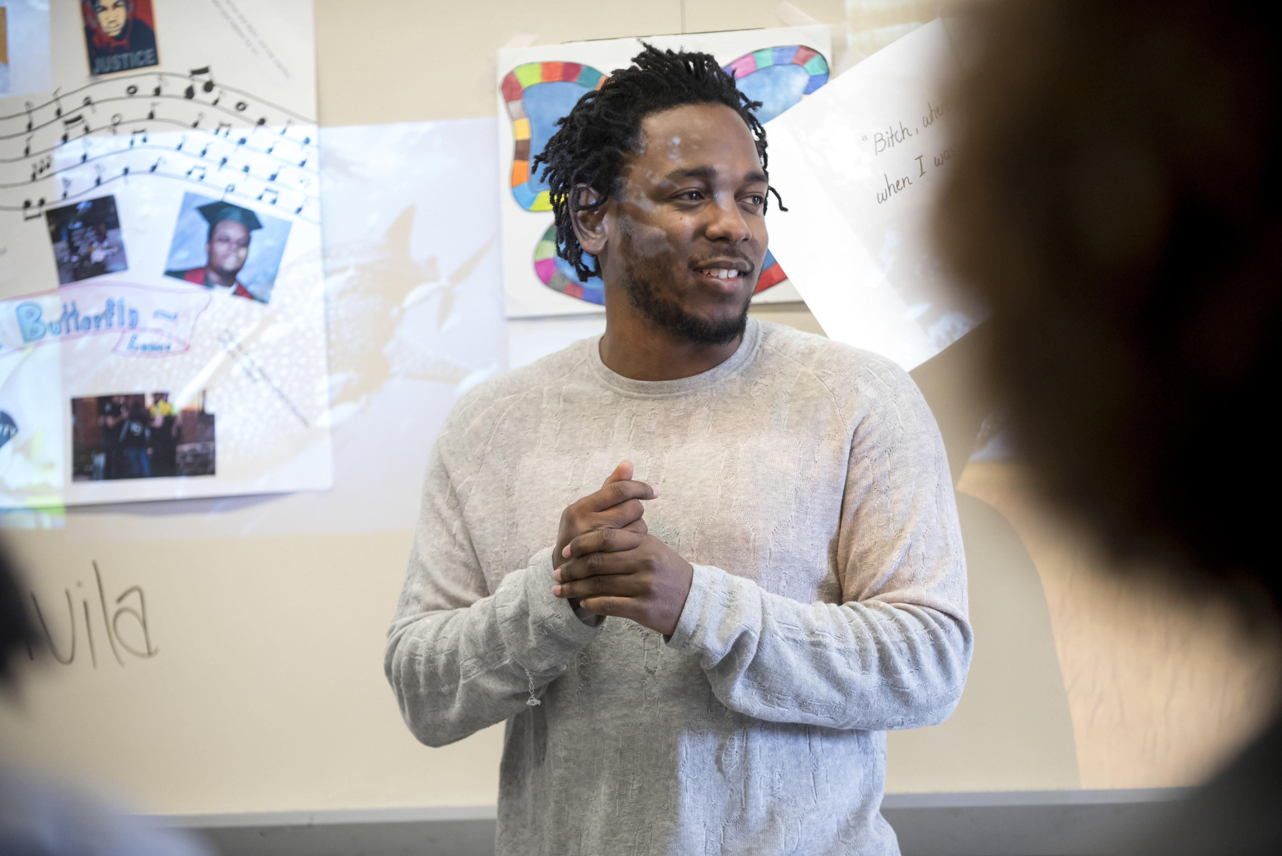Kendrick Lamar Blows Teens' Minds, Hears Their Poetry at NJ High School