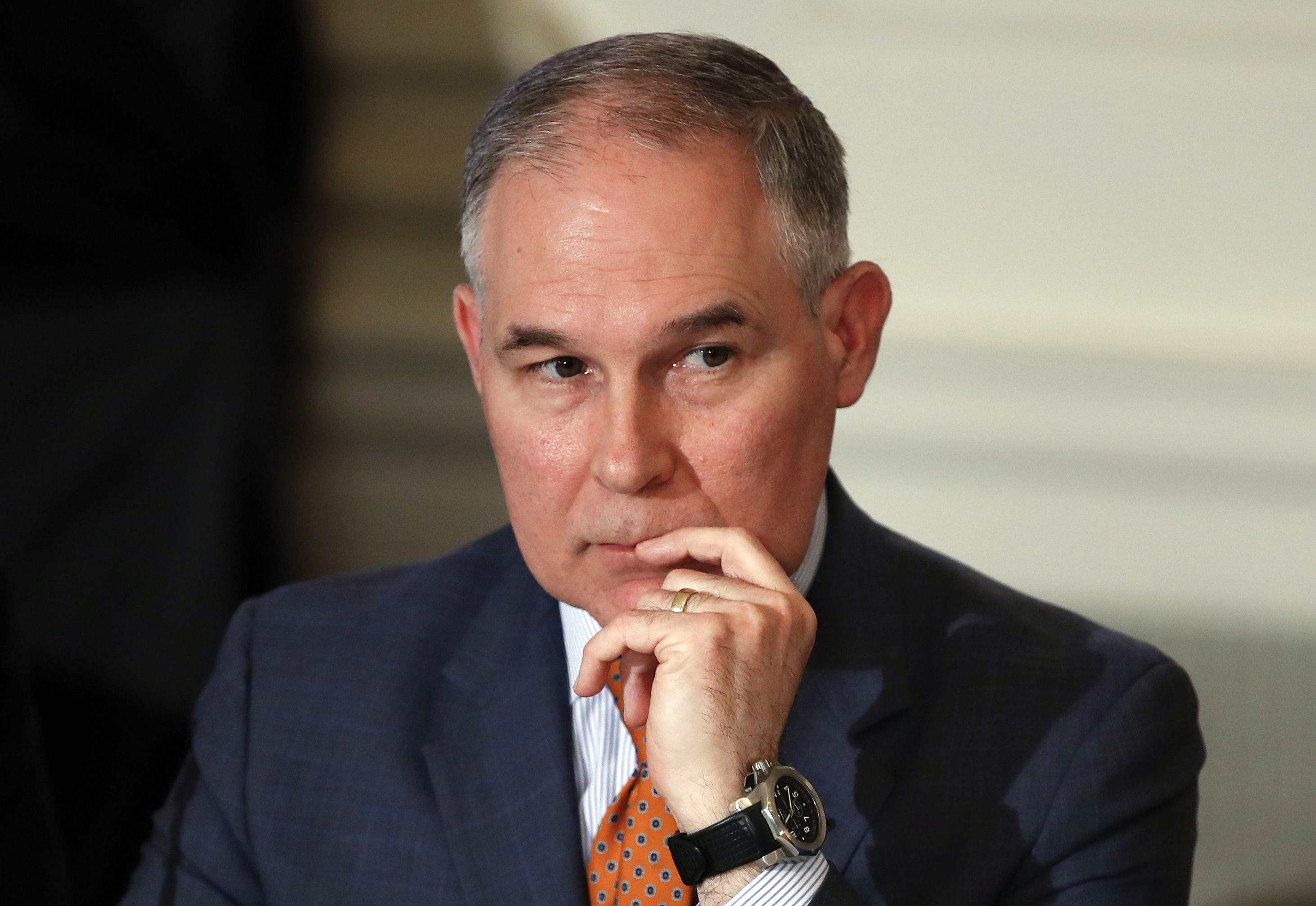 Environmental Protection Agency Administrator Scott Pruitt attends a meeting with state and local officials and President Donald Trump about infrastructure in the State Dining Room of the White House in Washington.