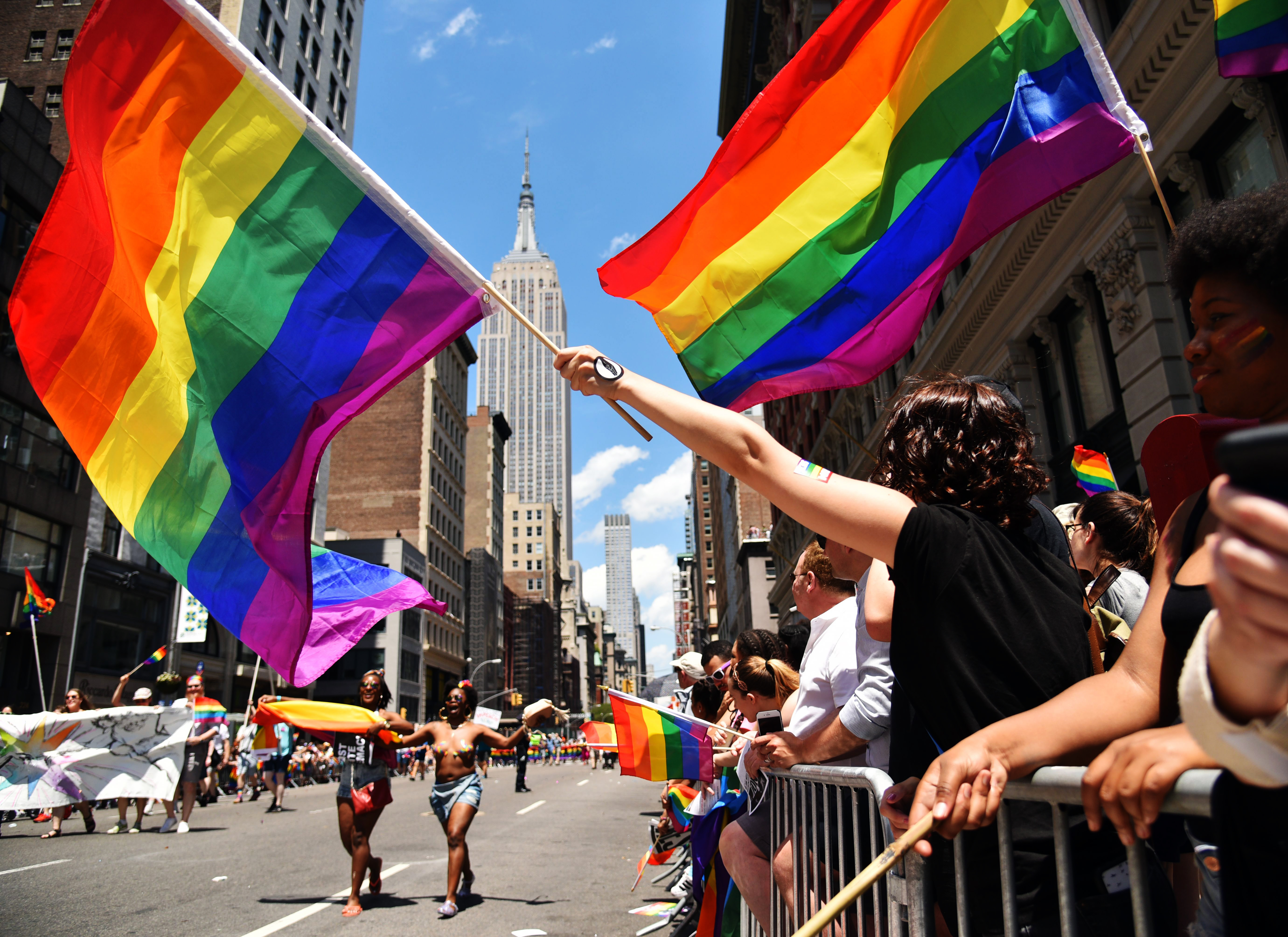 People enjoy the 2017 Pride Parade in New York lgbtq