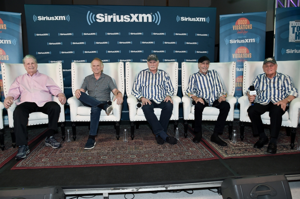 From left: Brian Wilson, Al Jardine, Mike Love, David Marks and Bruce Johnston participate in SiriusXM's Town Hall with the Beach Boys at Capitol Studios on Monday, July 30, 2018, in Los Angeles, Calif. (Photo by Richard Shotwell/Invision/AP)
