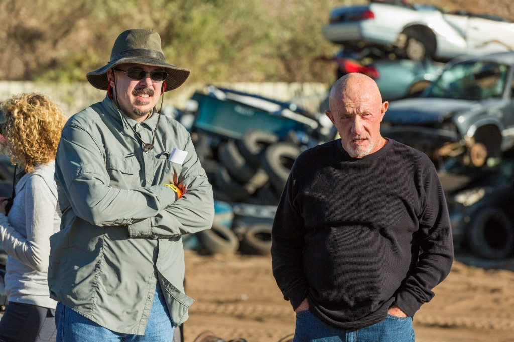 BTS, Executive Producer Vince Gilligan, Jonathan Banks as Mike Ehrmantraut - Better Call Saul _ Season 3, Episode 1 - Photo Credit: Michele K. Short/AMC/Sony Pictures Television