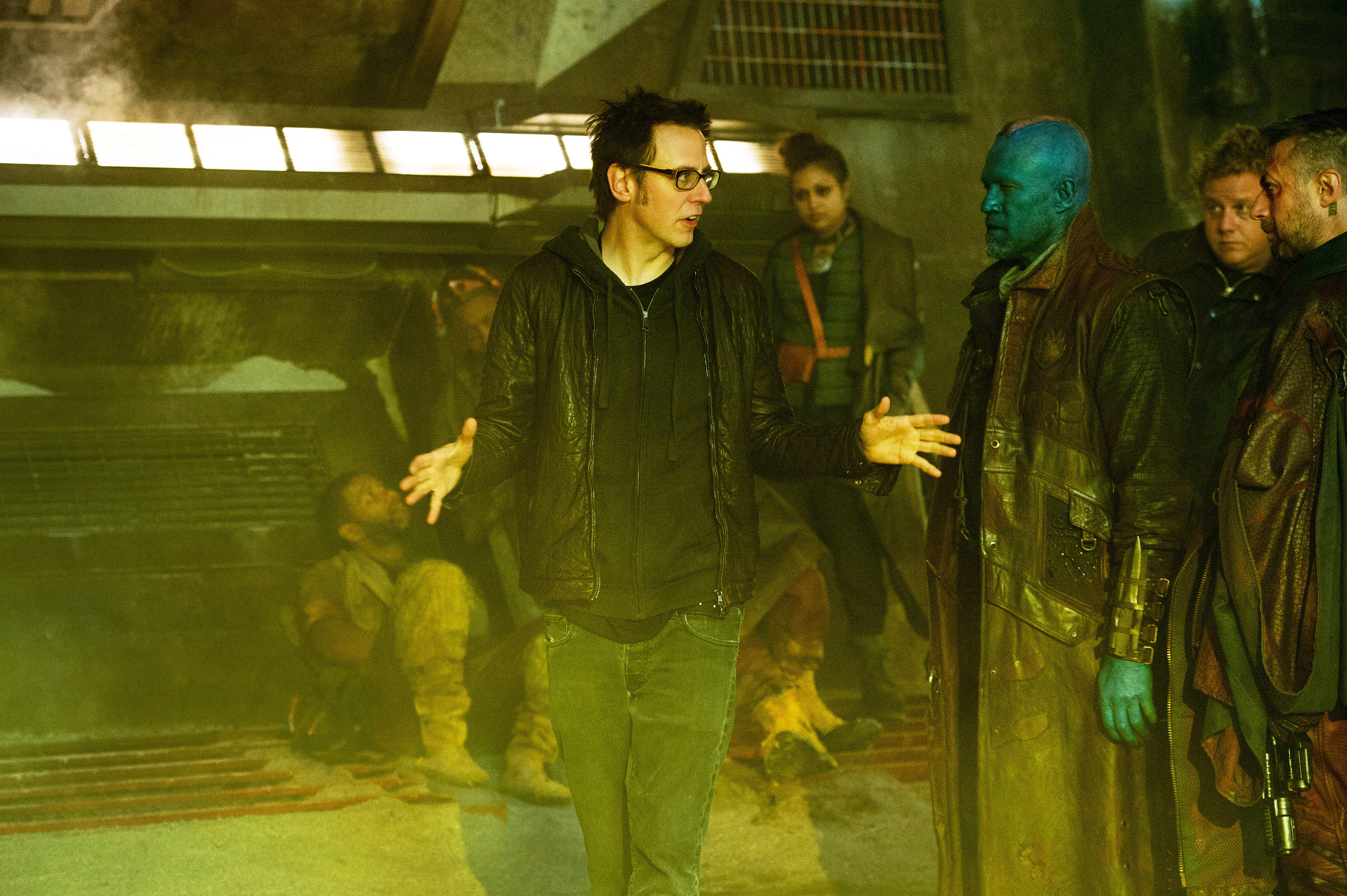 GUARDIANS OF THE GALAXY, from left: director James Gunn, Michael Rooker, Sean Gunn, on set, 2014. ph: Jay Maidment/©Walt Disney Studios Motion Pictures/Courtesy Everett Collection