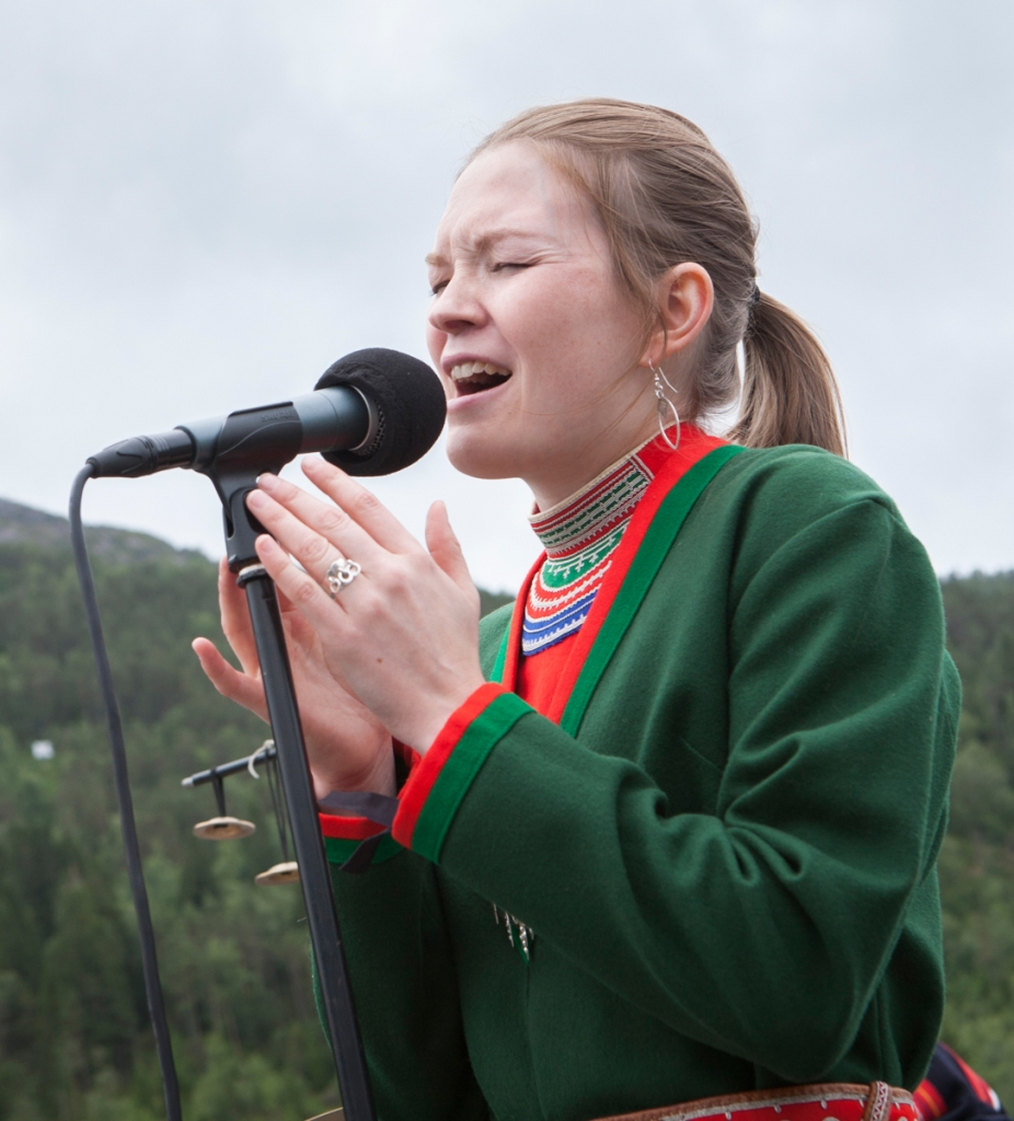 Marja Mortennsson performs during Førdefestivalen in Norway.