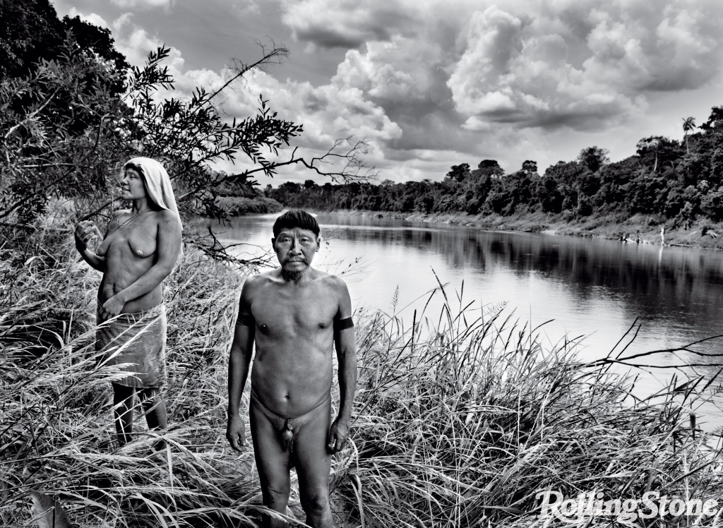 Kulutxia (far left) and Pexkën, of the Korubu tribe, stand on the banks of the Ituí River, where a settlement of about 90 Korubu live in one of Brazil's 690 protected indigenous reserves. Many Korubu have never encountered modern civilization.