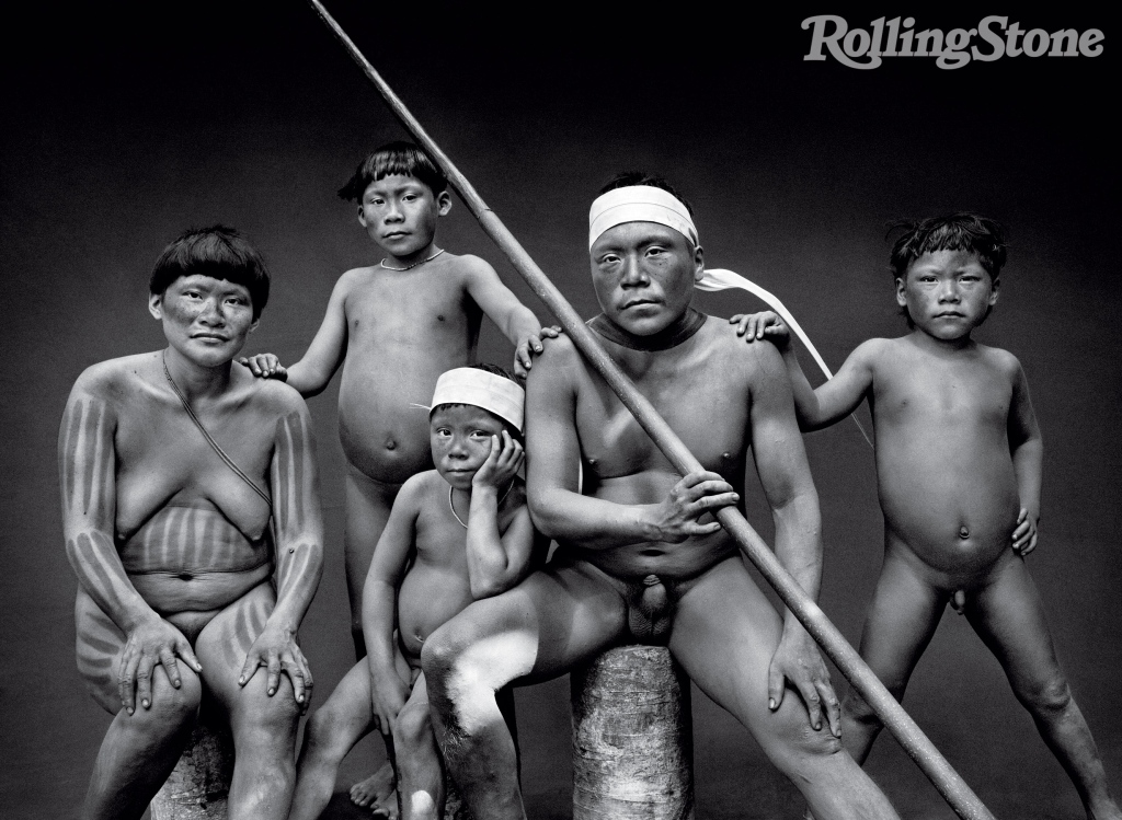 """Members of the Pinu family (from left): Naylo, Vali, Wanka Vakwë, Pinu and Kanikiti. Salgado was quarantined for a week before being allowed into the Javari reserve, so as not to introduce diseases the Korubu have no immunity for. """"You must have perfect health,"""" he says. """"With just a cold, you can kill a lot of them."""""""