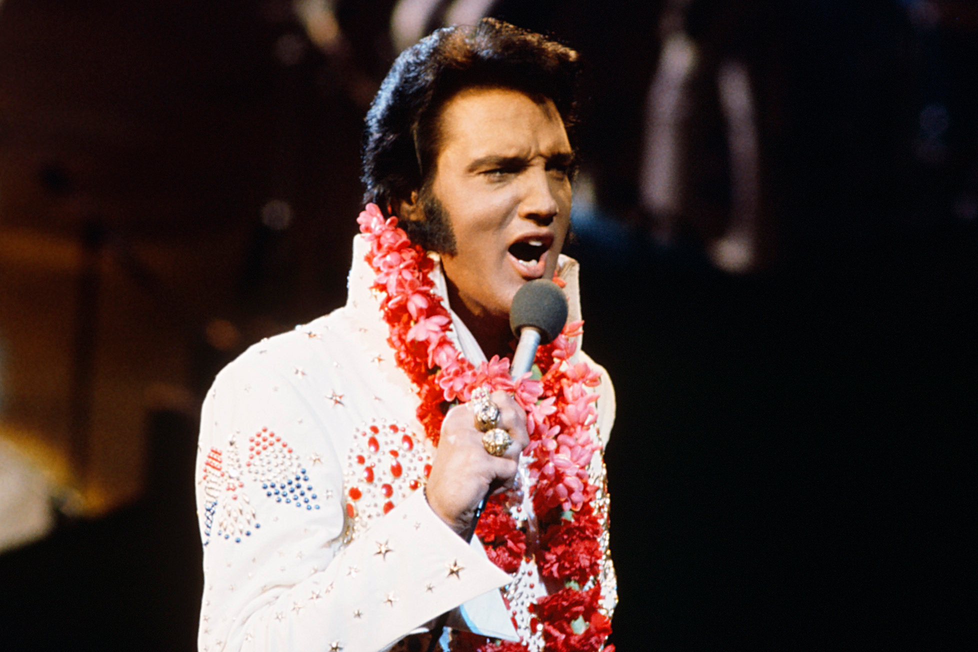 ELVIS: ALOHA FROM HAWAII -- Pictured: Elvis Presley during a live performance at Honolulu International Center in Honolulu, Hawaii on January 14, 1973 for his NBC special  -- (Photo by: Gary Null/NBC/NBCU Photo Bank via Getty Images)