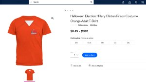 """c7847477 ... still sells both favorable and mocking political clothing from Old  Glory, such as the """"Clinton 2016"""" election T-shirt, Hillary Clinton prison  costumes ..."""