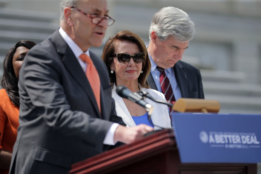 WASHINGTON, DC - MAY 21: (L-R) Senate Minority Leader Chuck Schumer (D-NY), House Minority Leader Nancy Pelosi (D-CA) and Sen. Sheldon Whitehouse (D-RI) join fellow Democrats and their supporters to introduce a new campaign to retake Congress during a news conference at the U.S. Capitol May 21, 2018 in Washington, DC. The campaign, called 'A Better Deal for Our Democracy,' aims at 'taking back the power from special interests and getting rid of the pay-to-play culture of corruption, cronyism and incompetence embodied by the Trump Administration.' (Photo by Chip Somodevilla/Getty Images)