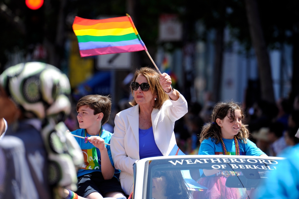 SAN FRANCISCO, CA - JUNE 23: U.S. Congresswoman Nancy Pelosi rides during the 2018 San Francisco Pride Parade on June 24, 2018 in San Francisco, California. (Photo by Arun Nevader/Getty Images)