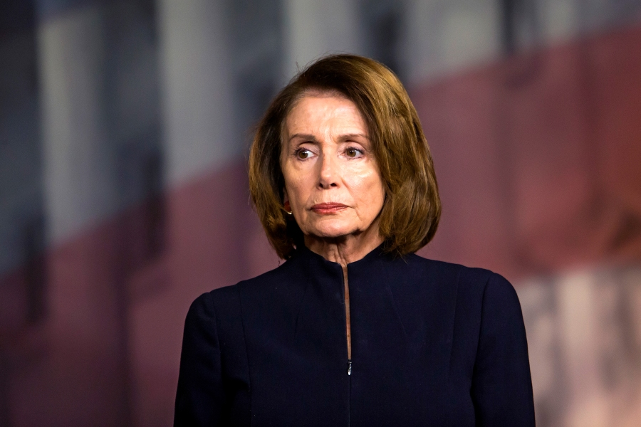 House Minority Leader Nancy Pelosi (D-Calif.) during a news conference on the day after a mass shooting at Marjory Stoneman Douglas High School in Parkland, Fla., on Capitol Hill in Washington, Feb. 15, 2018. A young man barged into his former high school Wednesday, opening fire on students and teachers and leaving a death toll of 17 that could rise even higher, the authorities said. (Eric Thayer/The New York Times)