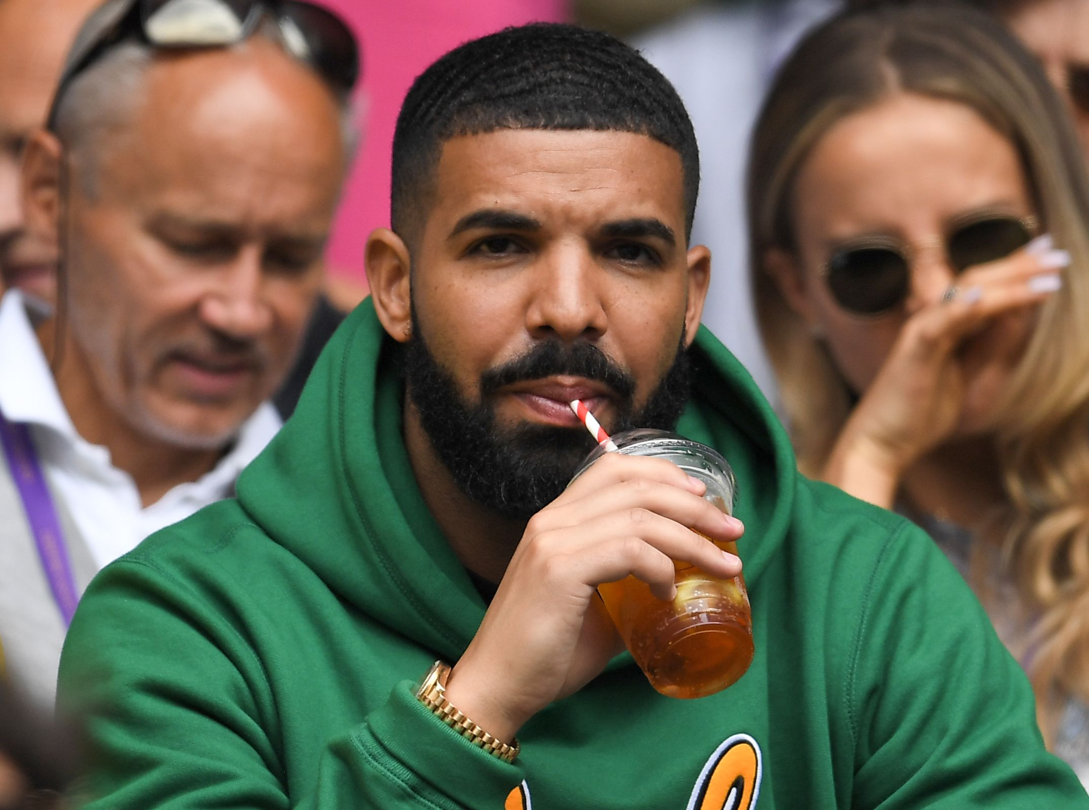 Drake on Centre CourtWimbledon Tennis Championships, Day 8, The All England Lawn Tennis and Croquet Club, London, UK - 10 Jul 2018