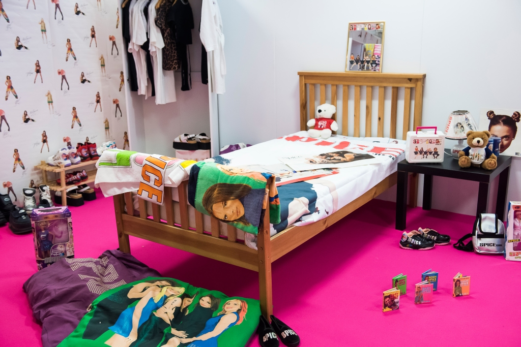 A Spice Girls bedroom set up at the Spice Up exhbition.