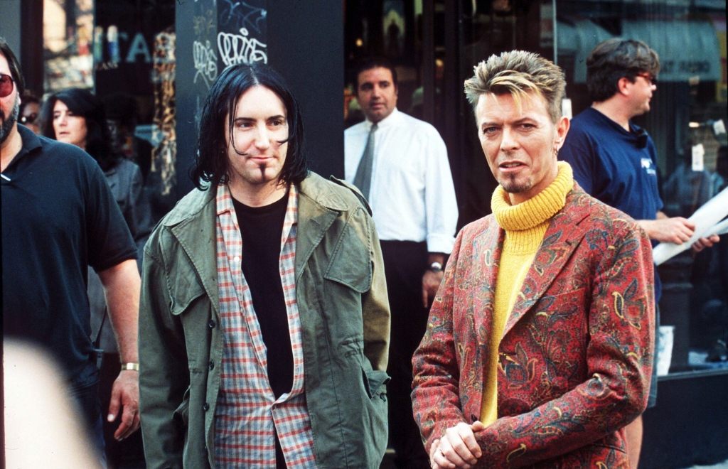 WITH TRENT REZNOR OF NINE INCH NAILSDAVID BOWIE FILMING A VIDEO - 1997