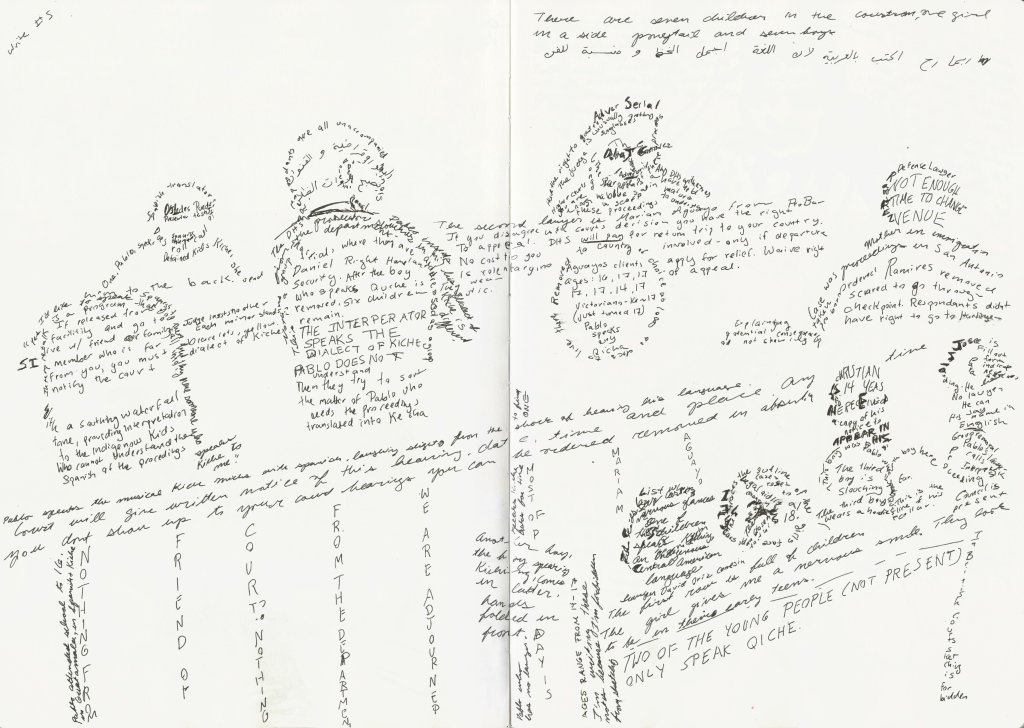 At the Harlingen immigration court, a supervisor tried to stop me from sketching and even tried to forbid me from entering the courtroom, though it was open to the public. As a guard watched me, I attempted to delineate the courtroom scene using words.