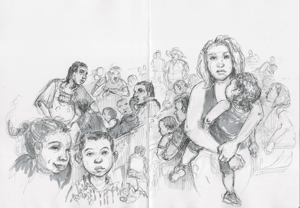 Though I was banned from sketching in many immigration facilities, ICE and CBP have no control over the McAllen bus station, where I sketched most evenings and listened to migrants tell their harrowing stories. Every day, this squat station in McAllen's faded Art Deco downtown serves as a waystation for approximately 100 newly released immigrant families. After being released from detainment, they catch their breath at the nearby Catholic Charities shelter and then wait for buses to take them to relatives already settled in America.