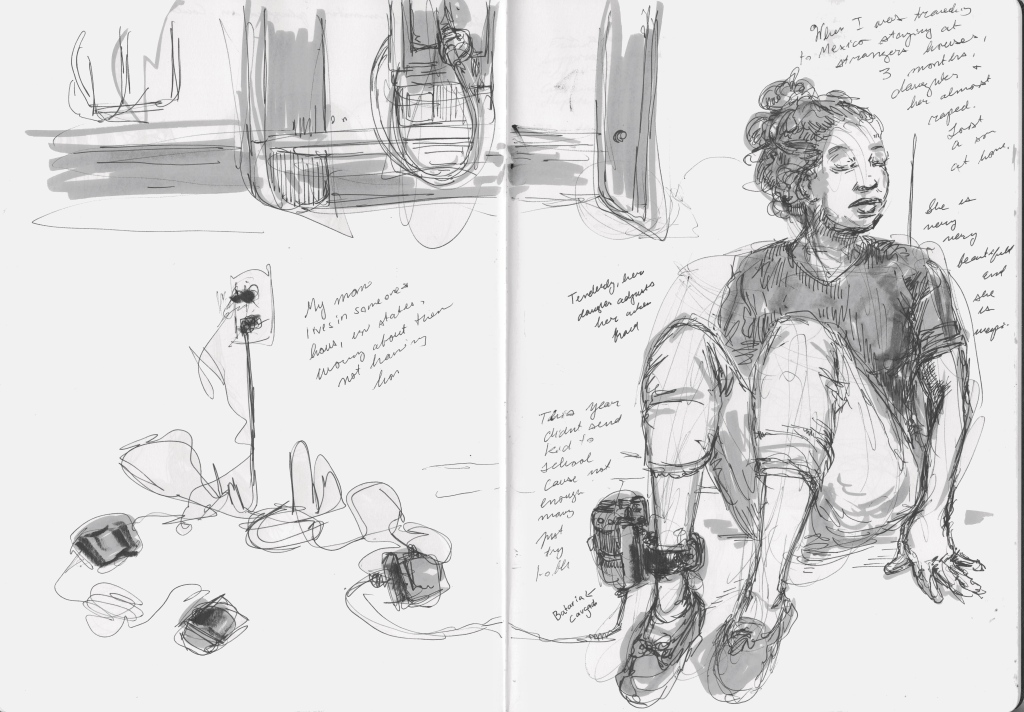 """Many parents at the bus station wore electronic ankle monitors, which ICE uses to keep track of asylum seekers through its """"Intensive Supervision Appearance Program,"""" run by a private-prison company. A woman from Honduras sat tethered to a power outlet by her monitor, which needs to be plugged in every 12 hours and left bruises all over her slender foot. It might be six months before she can take it off."""