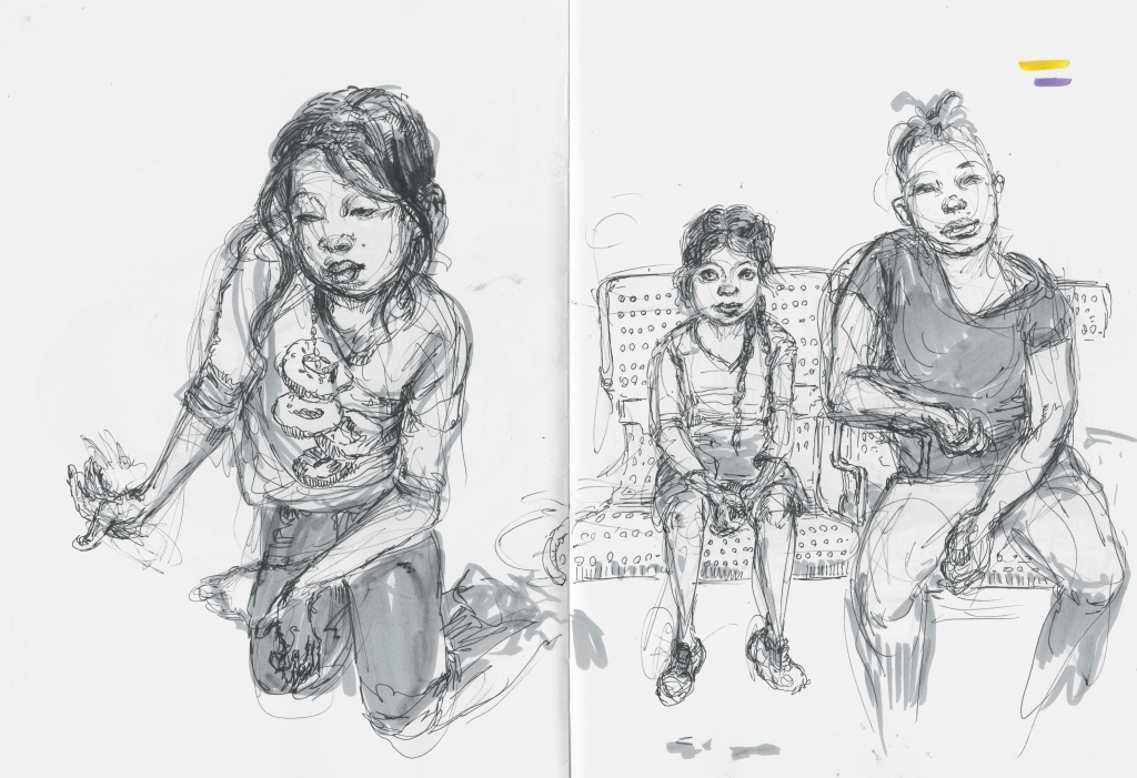 """Kids at the bus station were animated by chaotic energy, as if all the playfulness they could not use while caged in the processing centers needed to be expended. A girl whirled through her ballet practice. Two toddlers took turns riding on each other's backs. A crew of girls sat next to me, drawing beaches, mermaids, gymnasts. But their parents slumped on the station benches, holding envelopes that read """"PLEASE HELP ME. I DON'T SPEAK ENGLISH."""""""
