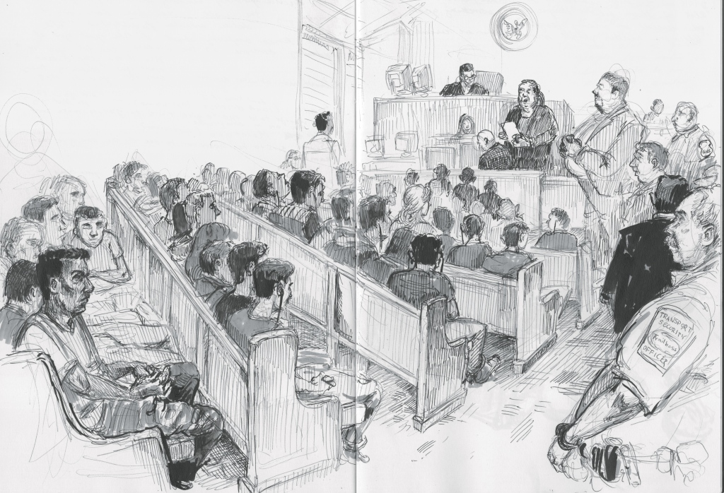 Barred from sketching in the Port Isobel courtroom, I went to the criminal court in McAllen, a city just 10 miles from the Rio Grande, where a mass trial of mostly Mexican immigrants takes place every weekday, for charges of crossing the border illegally.