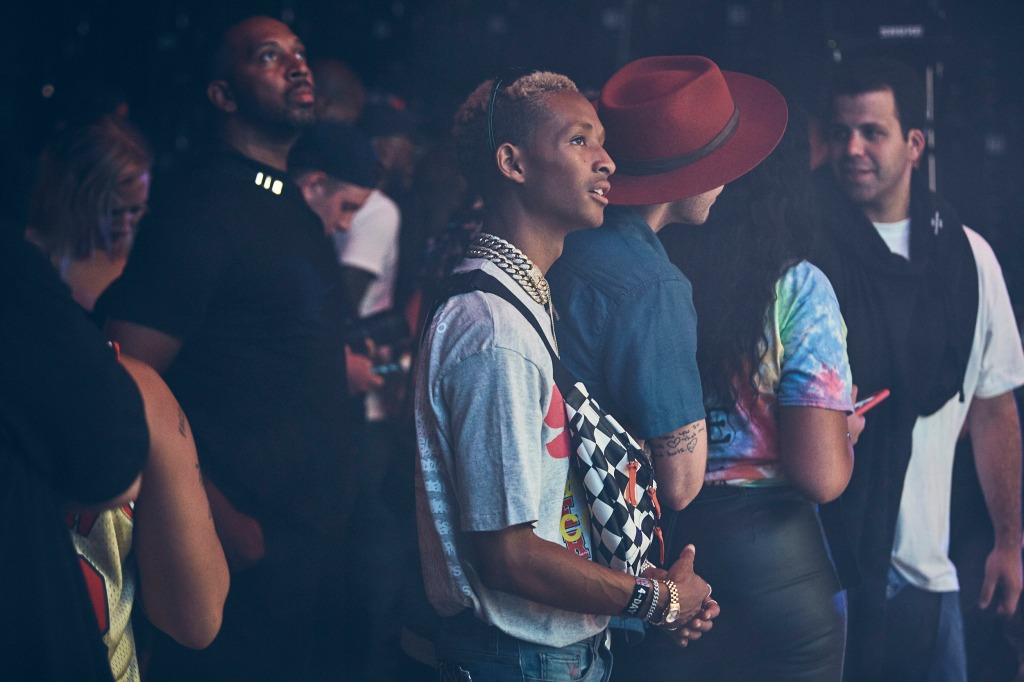 The actor-musician takes in Travis Scott's set.