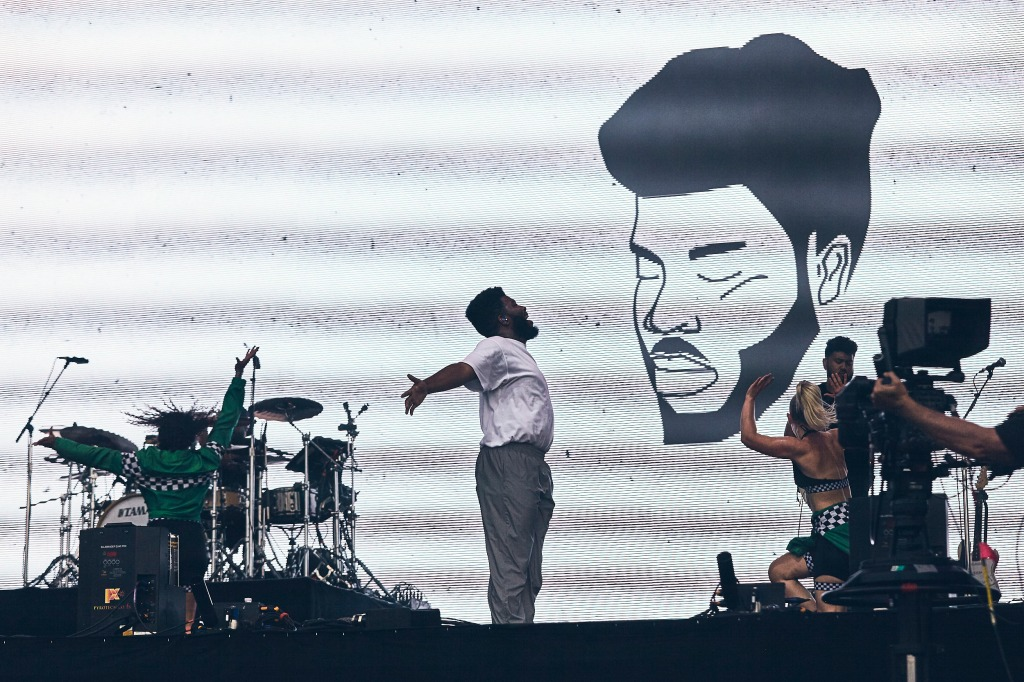 Khalid onstage at his first-ever Lollapalooza.