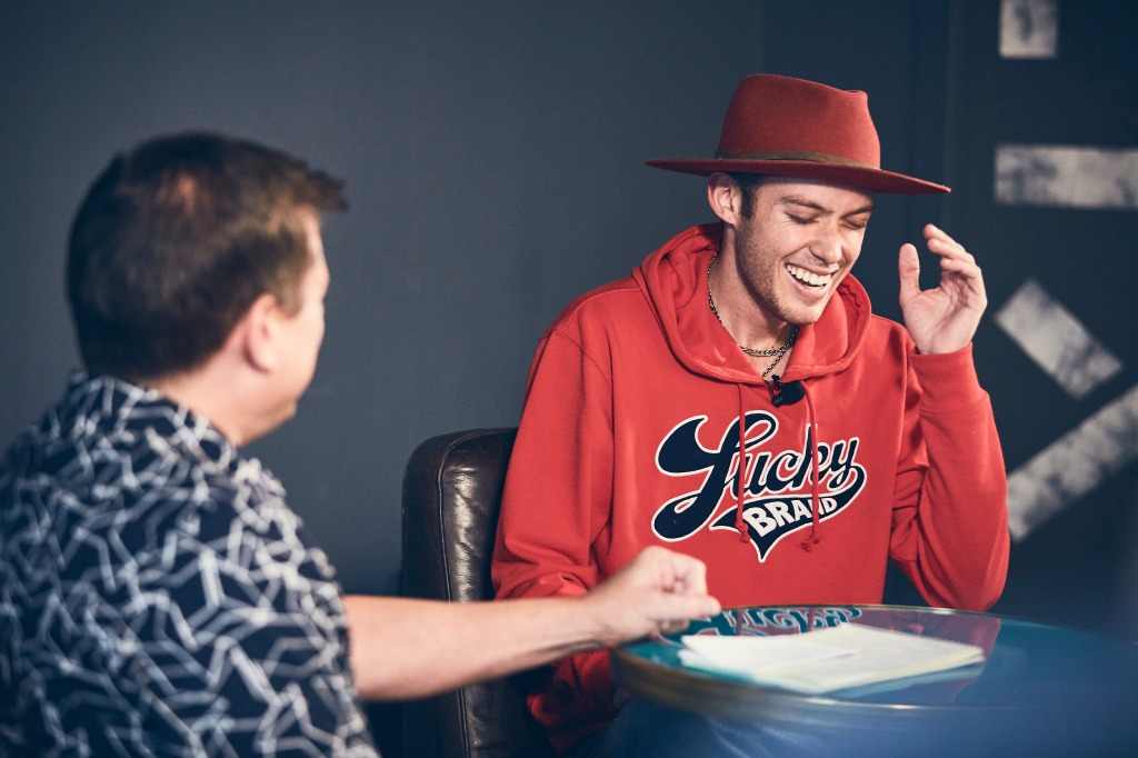 Singer-songwriter Harry Hudson laughs with Rolling Stone Digital Director Jerry Portwood
