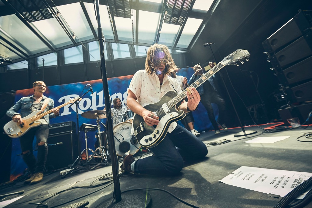 Sam Getz of the bandWelshly Arms is brought to his knees during the high-energy set at theRolling Stone: Live Chicago party.