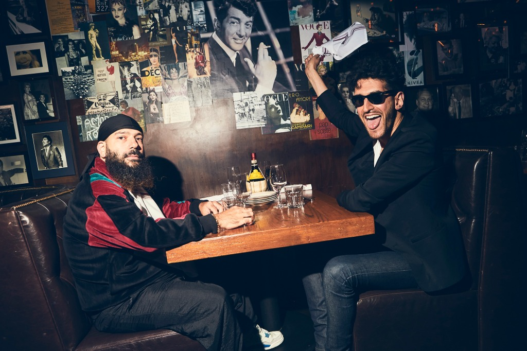 Chromeo takes a seat before hitting the stage for their DJ set