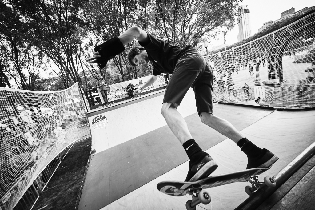 A skater about to grab some air