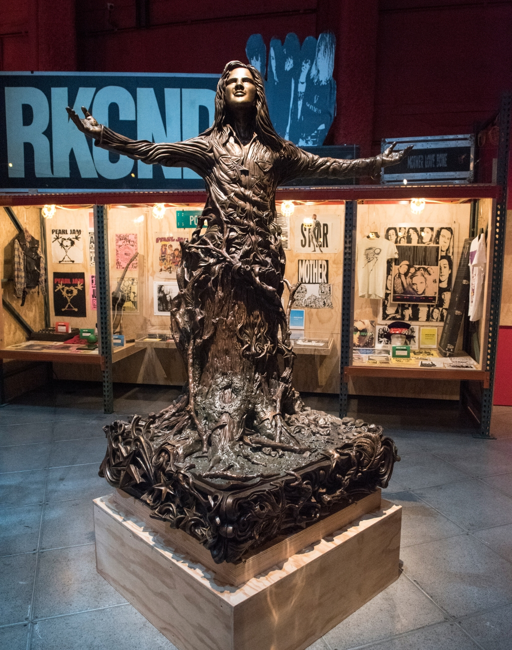 """A closer look at Woods' statue.""""Everybody liked him,"""" Ament says. """"I never heard Kurt Cobain talk about Andy, but I would guess that there would be some kinship between those two because they were both sort of from the western side of the state. Small-town peninsula life."""""""