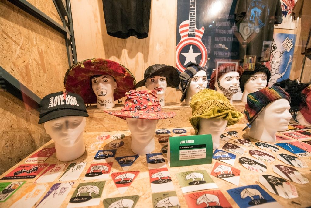 """Ament's hats from both Mother Love Bone and Pearl Jam. """"I see these hats at home,"""" jokes Ament's wife, Pandora. """"At home, I've got closets of them."""""""