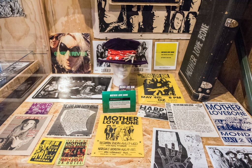 Mother Love Bone fliers, gear and promotional materials – plus a hat worn by Andrew Wood.