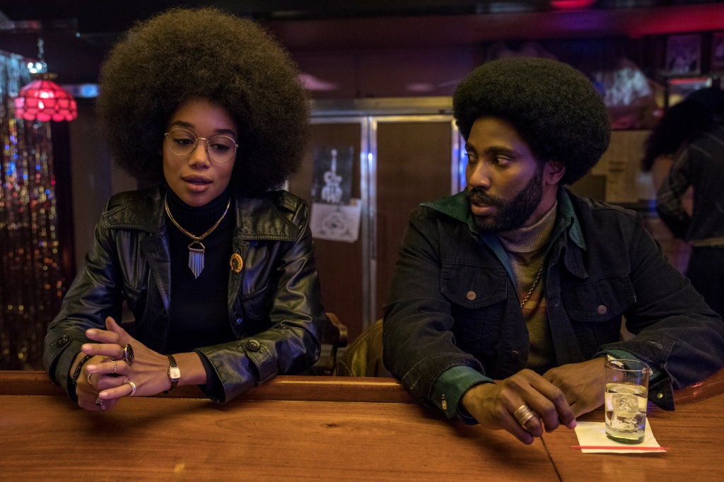 4117_D015_07703_RLaura Harrier stars as Patrice and John David Washington as Ron Stallworth in Spike Lee's BlacKkKlansman, a Focus Features release.Credit: David Lee / Focus Features