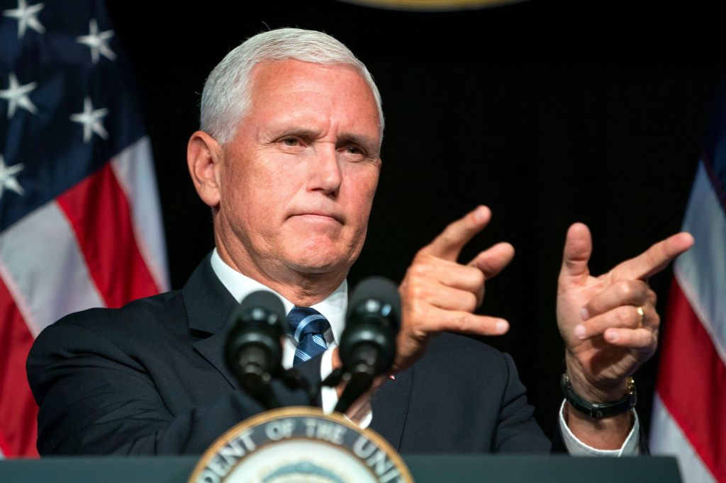 US Vice President Mike Pence speaks on President Trump's push for a space force at the Pentagon in Arlington, Virginia, USA, 09 August 2018. In June 2018, the President ordered the Department of Defense to establish the 'Space Force as the sixth branch of the armed forces.'Vice President Pence speaks on Trump's proposed Space Force, Arlington, USA - 09 Aug 2018