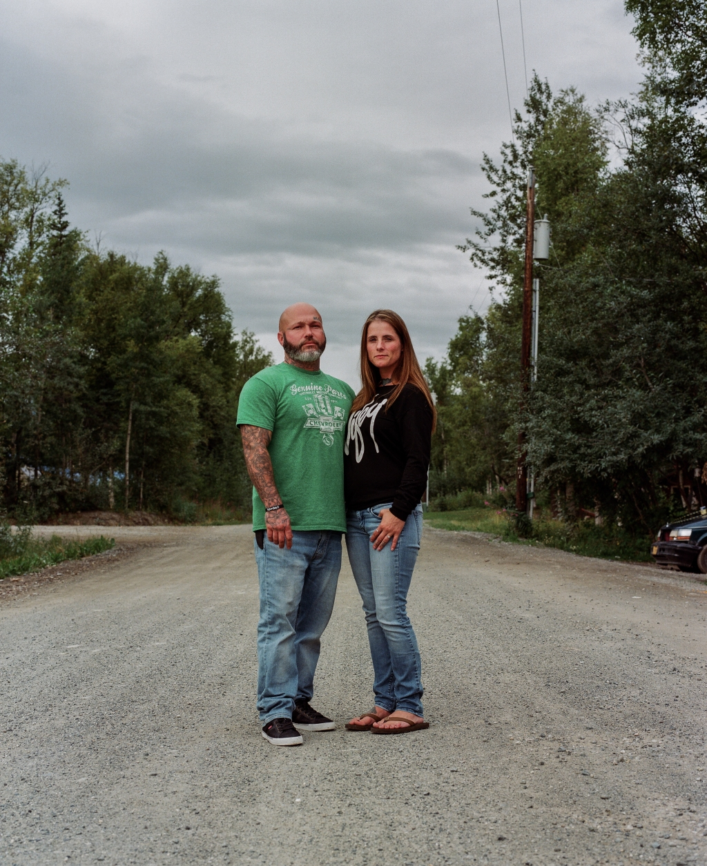 James and Hetty McAnulty, Mycah's uncle and aunt, on a street where Mycah has been living intermittently over the last couple of years. The couple come out to Wasilla on the weekends to make sure Mycah has food and to take care of her if she's been hurt.